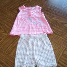 TINY TOTS Pink Blue Check Girls SHORT OUTFIT 6 - 9 Months Butterflies Flowers (bin3)