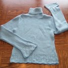 GREAT AMERICAN SWEATER CO Light Blue Cable Knit SWEATER Size L Large locationw5