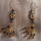 Vintage Amber Colored Beaded Drop Pierced EARRINGS Copper French Ear Wire 21ear