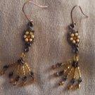 Vintage Amber Colored Beaded Drop Pierced EARRINGS Copper French Ear Wire 21ear