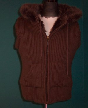 WET SEAL Brown Fur Reversible Knit Hooded SWEATER Top Jacket Size L Large Juniors