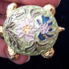 Unique Goldtone & Enamel TURTLE BROOCH Pin Costume Jewelry Vintage 1pin