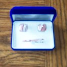 Unique Silvertone MEN'S CUFF LINKS & TIE CLIP Original Box Costume Jewelry Vintage Set 2ma