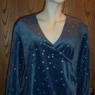 STYLE STUDIO Velour LS Gray Stars Shirt Top Size M Medium location98