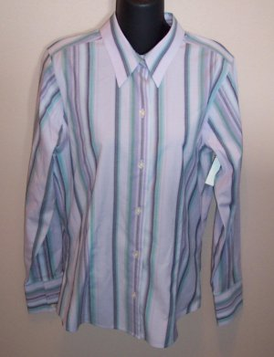 EDDIE BAUER Lavender LS Striped Wrinkle Resistent BLOUSE Shirt Top Size M Medium Tall locationw10