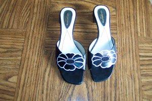 Sweet Floral LIZ CLAIBORNE CALLISTA Leather SANDALS Slides Shoes Size 7 1/2 M locationw13