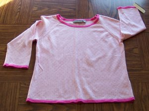 Sweet Pink Polka Dot CROFT & BARROW SWEATER Shirt Top Size S Small locationw12