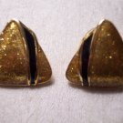 Vintage Goldtone Glitzy Triangle Post Pierced EARRINGS 26ear