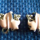 Vintage CORO Silvertone Enamel Leaf CLIP EARRINGS 28ear