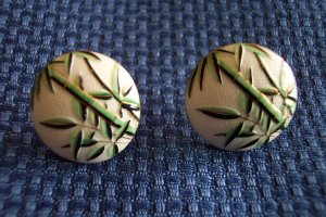 Exquistite Vintage Japan Enamel Screwback EARRINGS Bamboo 29ear