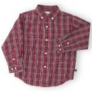 Gymboree Boy's All Aboard Button Front Long Sleeve Shirt 18 to 24 Months Red Black Plaid locationw8