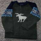 Children's Place Boy's Acrylic Wool Blend Sweater 4T Moose Navy Green locationw8
