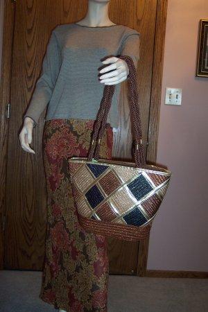Vintage Worthington Purse Tote Handbag Double Straps Straw Woven locationw1