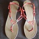 Dexter Orange Braided Thong SANDALS Shoes Size 8 1/2 locationw13