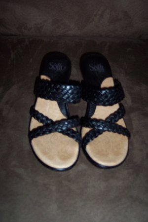 Black Braided Strappy SOFFT SANDALS Shoes Size 8 locationw14