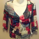 Tribal Abstract Print 3/4 Sleeve Top Size S Small wt-17 location5