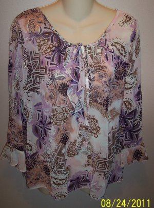 Apt 9 Sheer Feminine Top Size L Large wt-20 Abstract Paisley Print location6