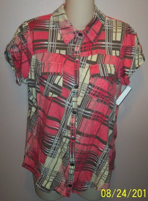 Derek Heart Peach Plaid Cap Sleeve Top Blouse wt-30 location5