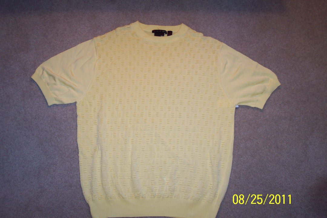 Tulliano MEN'S SHORT SLEEVE Knit Shirt  Yellow Size L Large 001SHIRT-68 location6