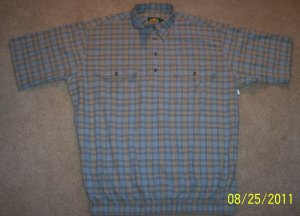 Cabela's Mens Short Sleeve Shirt Blue Plaid Size L Large 001SHIRT-69 location7