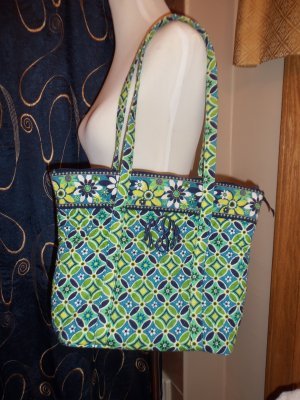 Vera Bradley Daisy Daisy Retired Villager Purse Tote Handbag Monogram KPM location6
