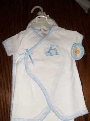 Pot Of Gold INFANT Boy's Layette 3 Pc Set 3/6 Months Airplane White Blue locationw8
