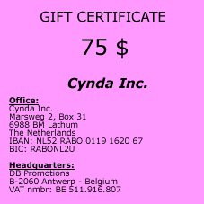 Gift Certificate of 75 $