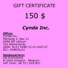Gift Certificate of 150 $