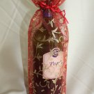 Glittery Organza (sheer) Wine Bag - Red/Gold