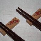 Wooden Chopstick Rest - Flower (pair)
