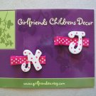 Letter Initial Clips - Set of 2 - Hot Pink