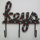 Polka Dot Key Hooks in Brown and Turquoise Blue