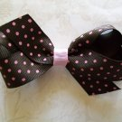 "Pink & Brown Polka Dot Hair Bow - 3.5"" Perfect Size for Pony Tails, Pigs Tails or Add to a Headband"