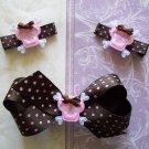 Girly Goth Hair Clip Set - Pink & Brown Polka Dots