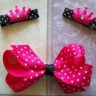 Princess Hair Clip Set - Pink & Black Polka Dots