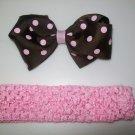 Pink & Brown Polka Dot Big Hair Bow and Headband Set