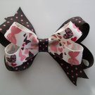 "Pink & Brown Polka Dot Butterfly Stacked Hair Bow - Medium Size 3.5"" Wide"