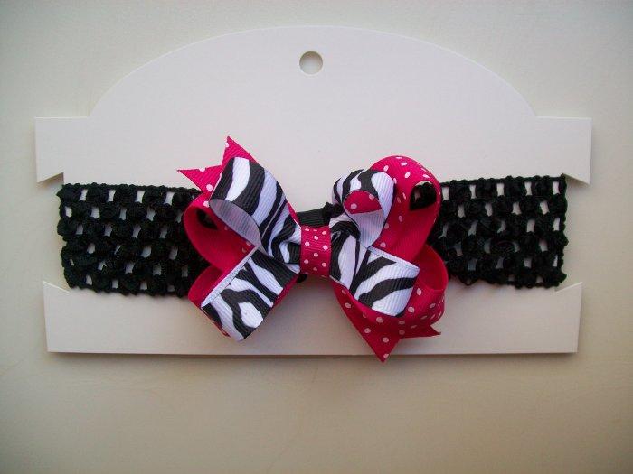 Pink Zebra Print Hair Bow and Headband Set - Hot Pink and Black Polka Dots
