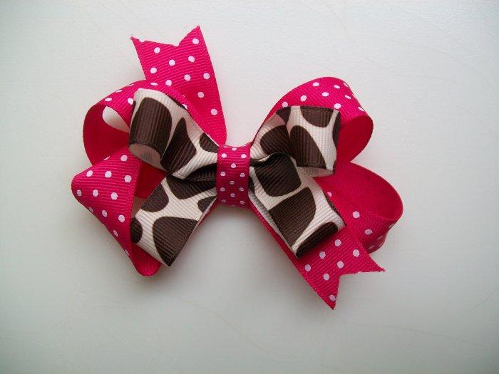 "Pink & Brown Polka Dot Giraffe Print Stacked Hair Bow - Medium Size 3.5"" Wide"