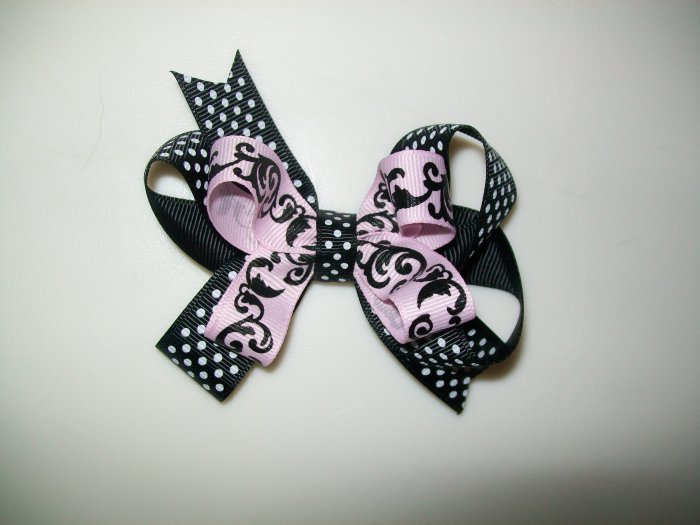 "Pink & Black Polka Dot Damask Print Stacked Hair Bow - Medium Size 3.5"" Wide"