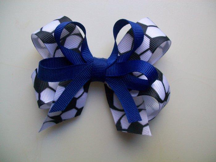 Soccer  Hair Bow - Royal Blue -