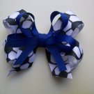 Soccer  Hair Bow - Royal Blue -