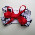 Soccer  Hair Bow - Red-