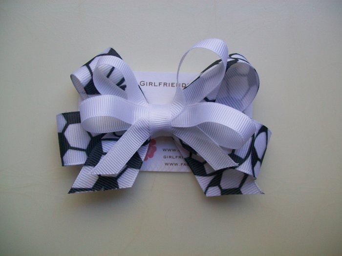 Soccer  Hair Bow - White