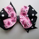 Ballerina Slippers Hair Big Bow - 4.5 Inch -Black and White Polka Dots