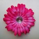 Hot Pink Rhinestone Gerbera Daisy Flower Clip-No Slip Grip