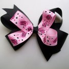 Ballerina Slippers Hair Big Bow - 4.5 Inch -Black and Pink