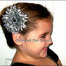 Zebra Print Rhinestone Gerbera Daisy Flower Clip-No Slip Grip