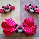 Girly Goth Skull Hair Clippie Set -No Slip Grip for Fine Hair from Baby to Teen - Hot Pink and Black
