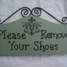 Please Remove Your Shoes Sign - Home or Business in Sage Green Damask
